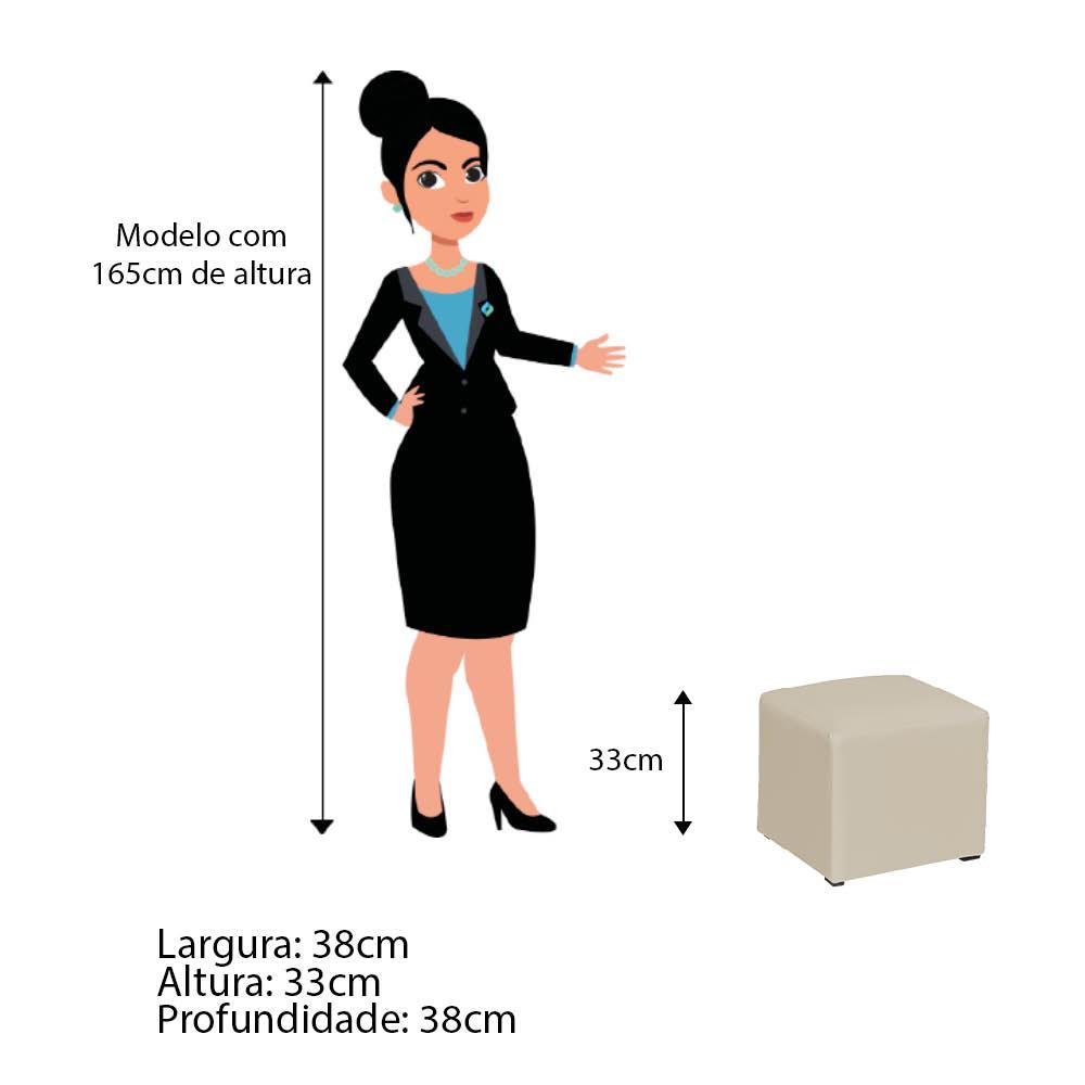 Poltrona de Amamentação Alice com Balanço e Puff Corano Bege com Botão Branco - ADJ DECOR