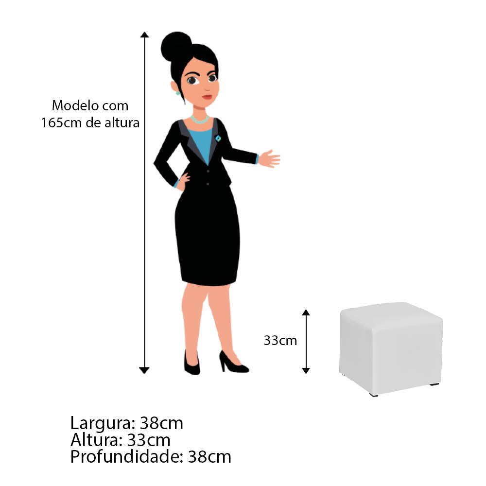 Poltrona de Amamentação Ester com Balanço e Puff Corano Branco com Botão Azul Marinho - ADJ DECOR