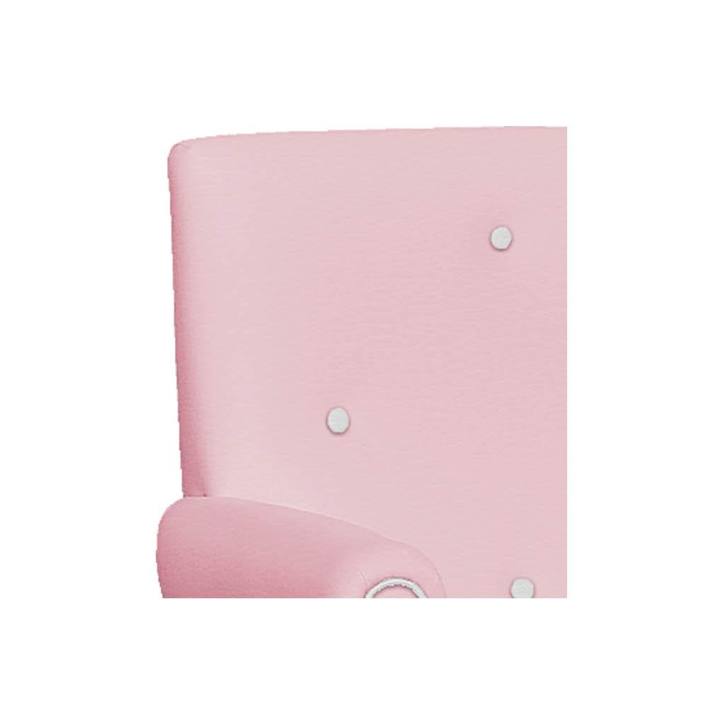 Poltrona de Amamentação Ester com Balanço e Puff Corano Rosa Bebê com Botão Branco - ADJ DECOR