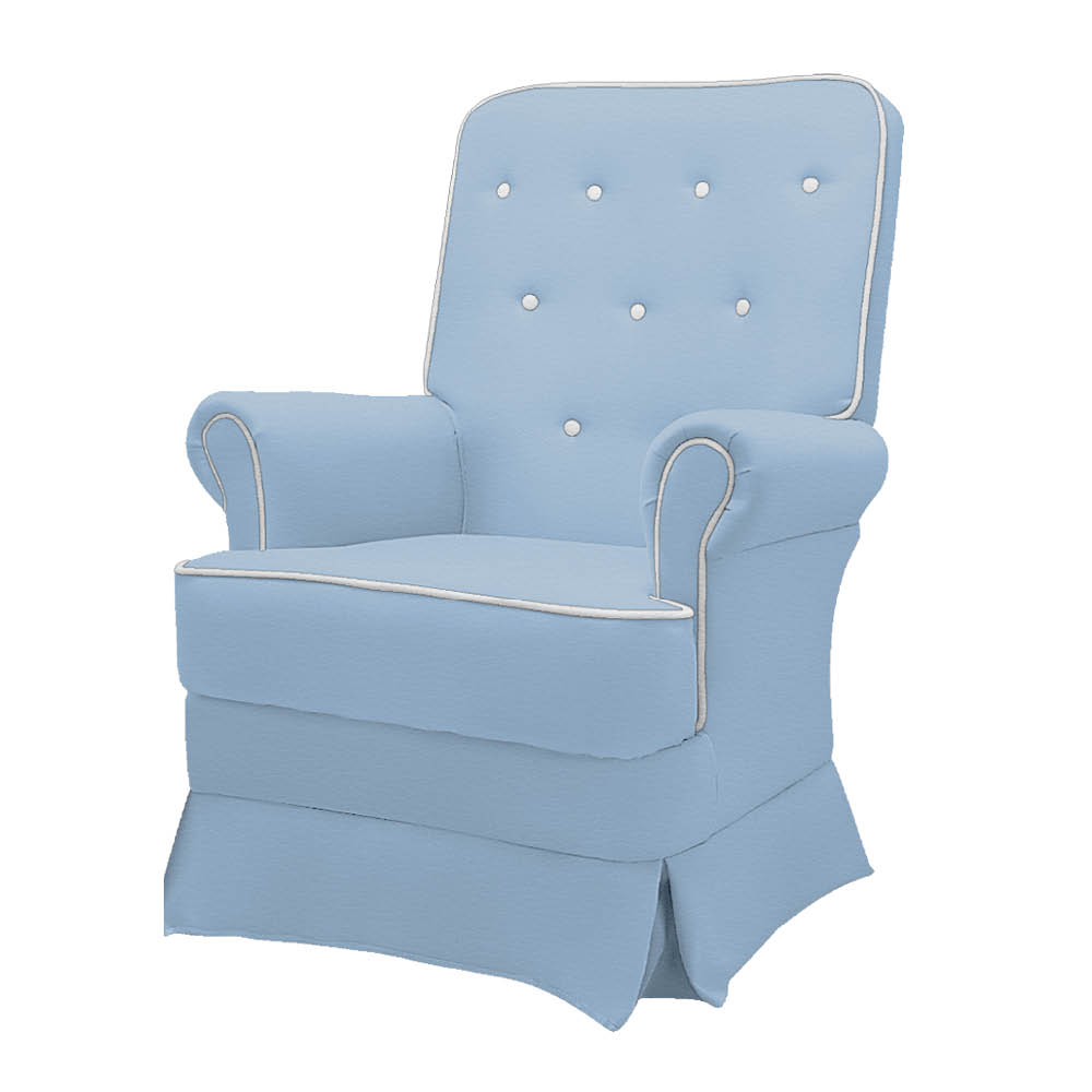 Poltrona de Amamentação Lara com Balanço Corano Azul Bebê com Botão Branco - ADJ DECOR