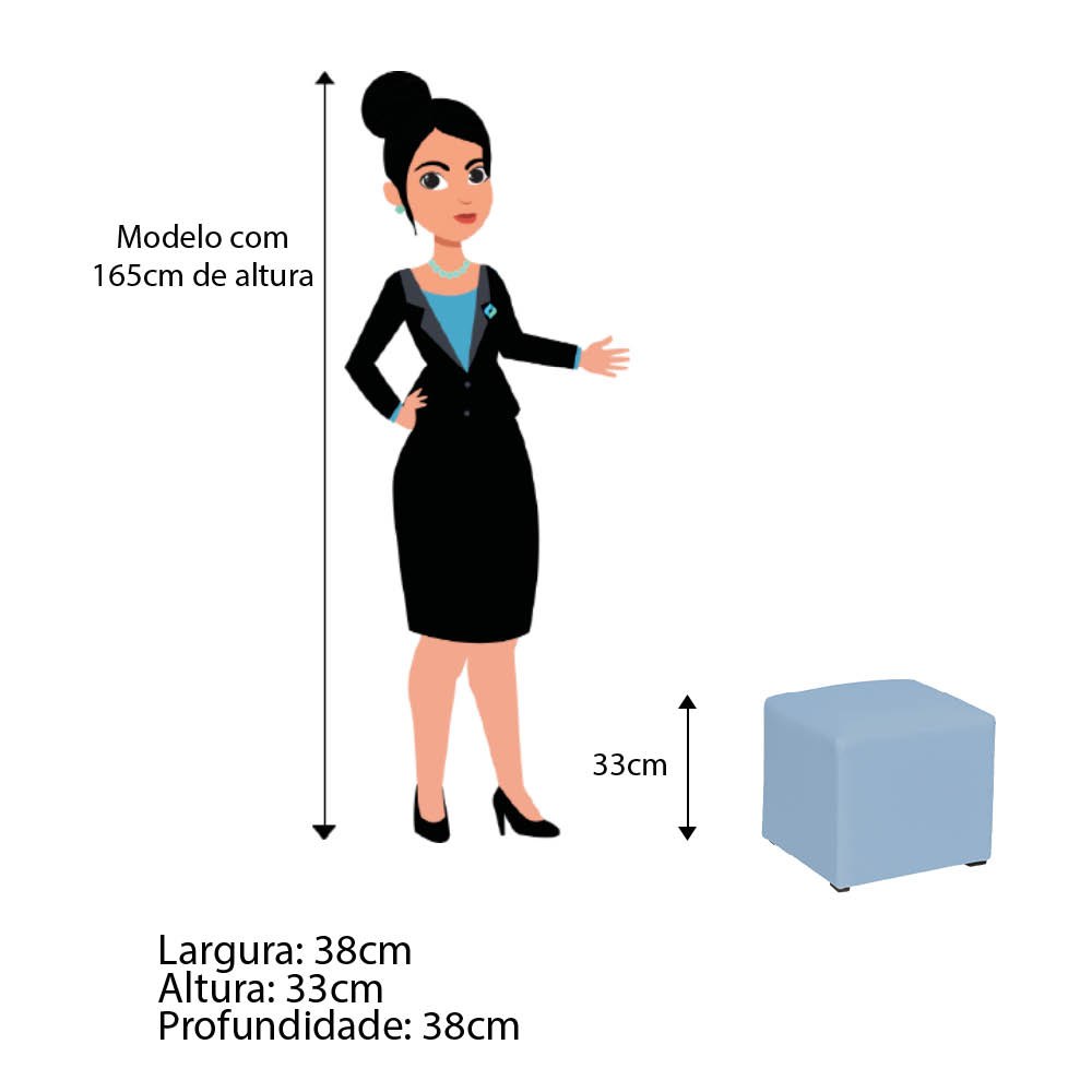 Poltrona de Amamentação Lara com Balanço e Puff Corano Azul Bebê - ADJ DECOR