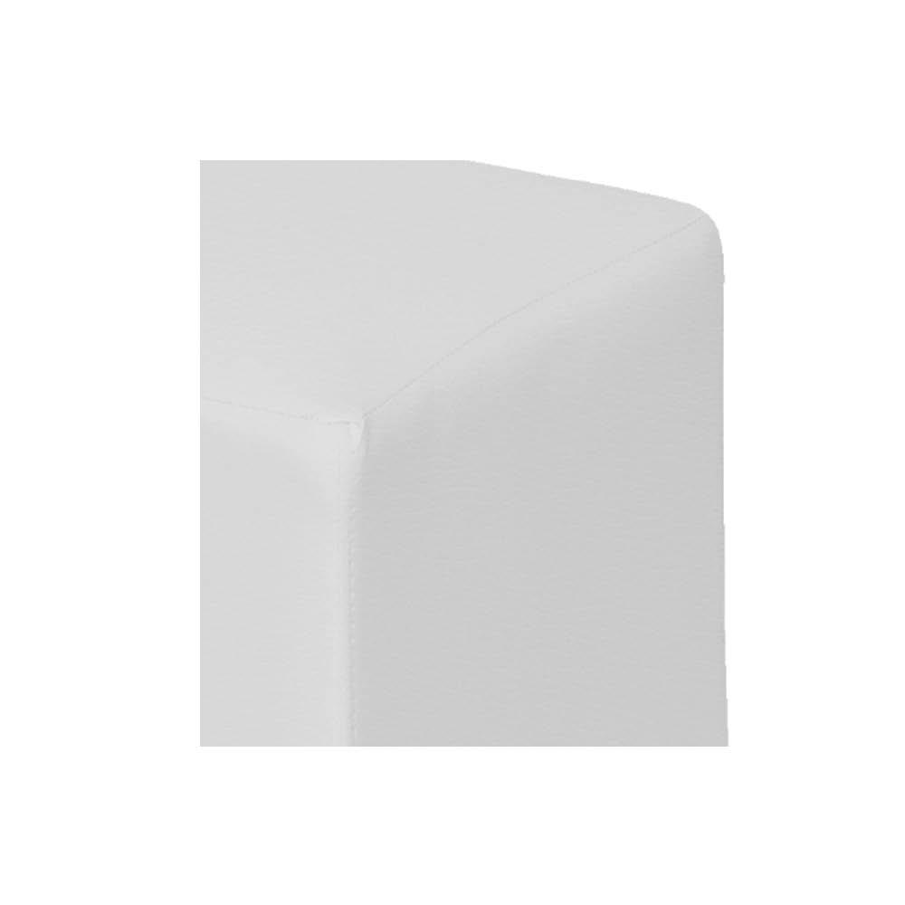 Poltrona de Amamentação Lara com Balanço e Puff Corano Branco com Botão Azul Bebê - ADJ DECOR