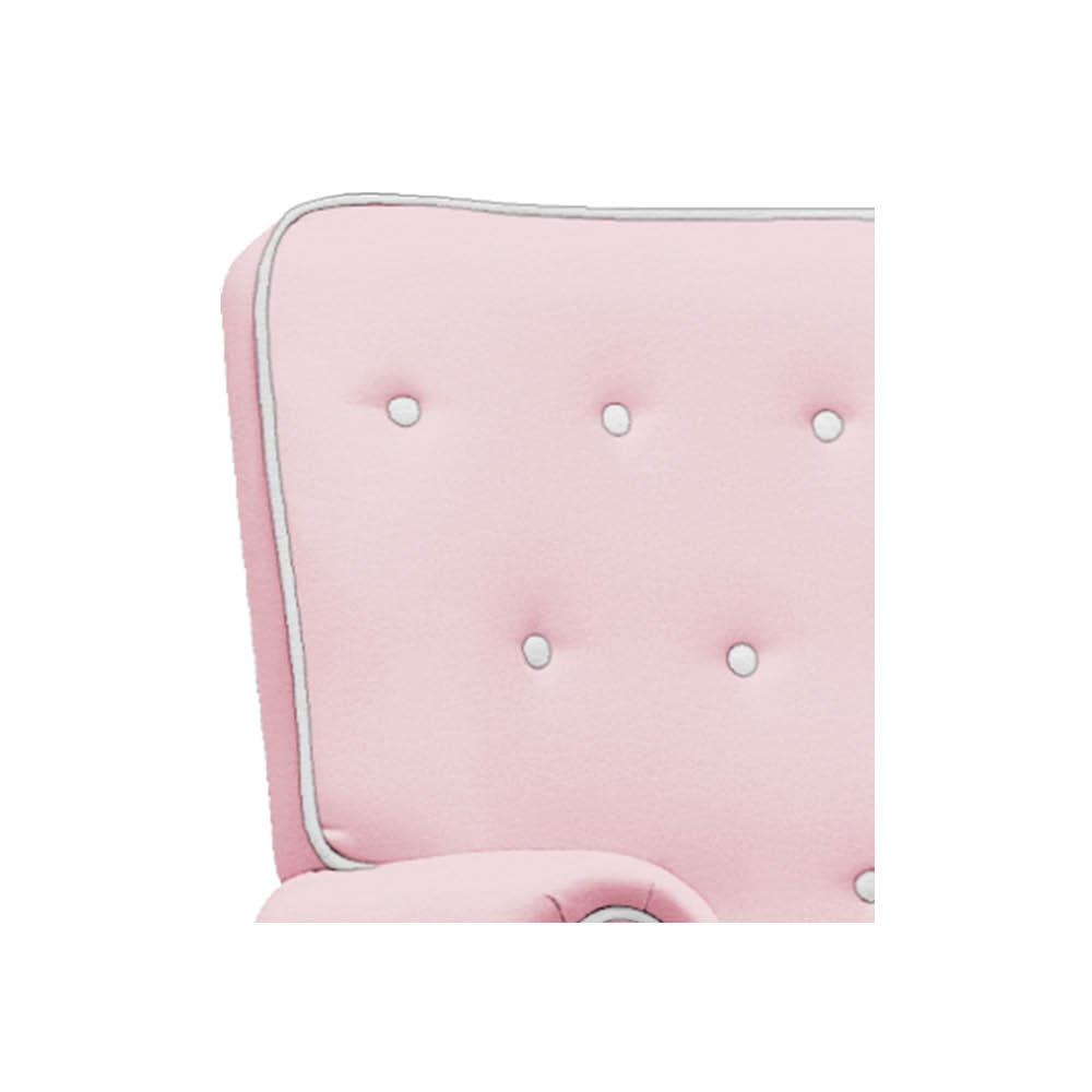Poltrona de Amamentação Lara com Balanço e Puff Corano Rosa Bebê com Botão Branco - ADJ DECOR