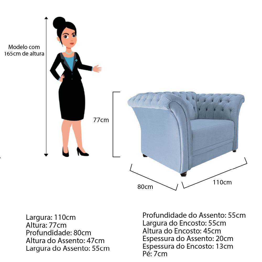 Poltrona Decorativa Chesterfield Sofia Corano Azul Bebê - ADJ Decor