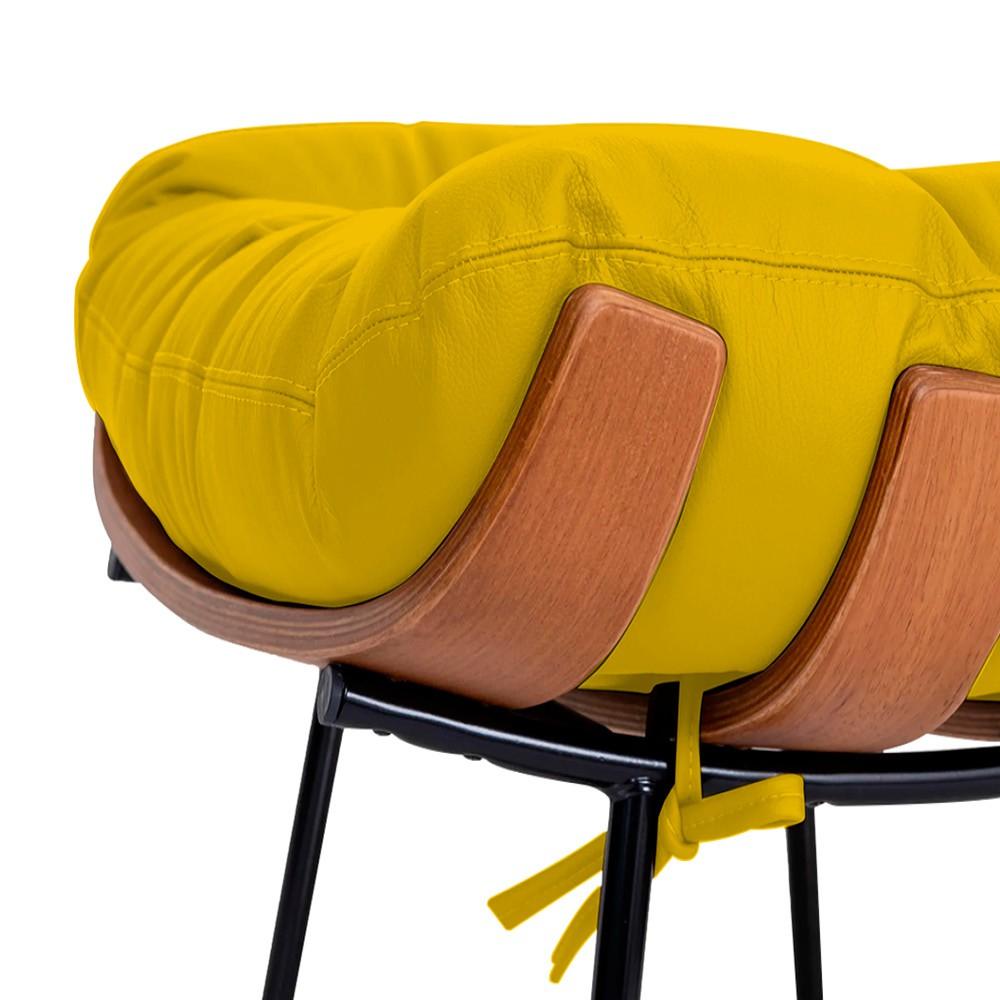 Poltrona Decorativa Costela Base Fixa Corano Amarelo - ADJ Decor