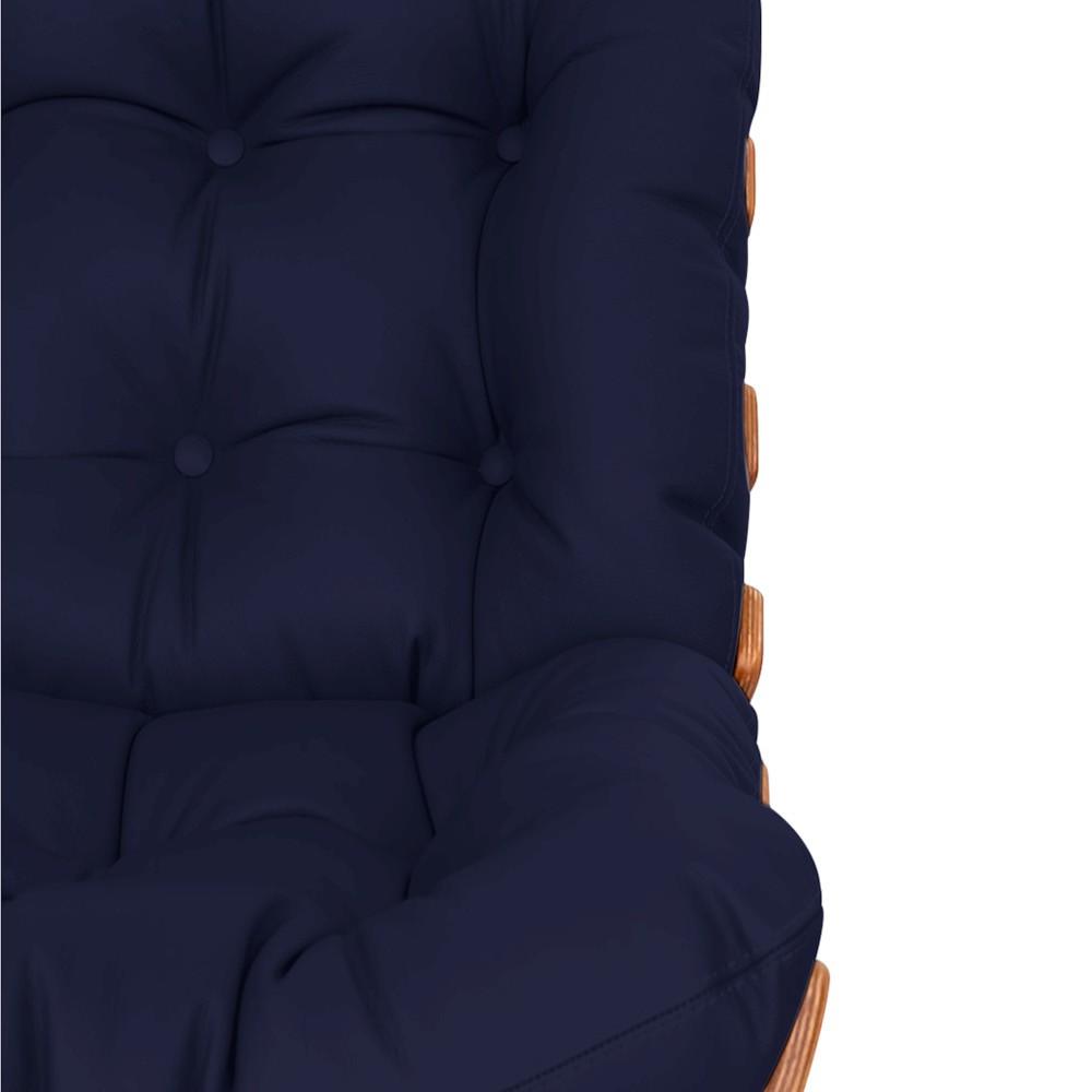 Poltrona Decorativa Costela Base Fixa Corano Azul Marinho - ADJ Decor