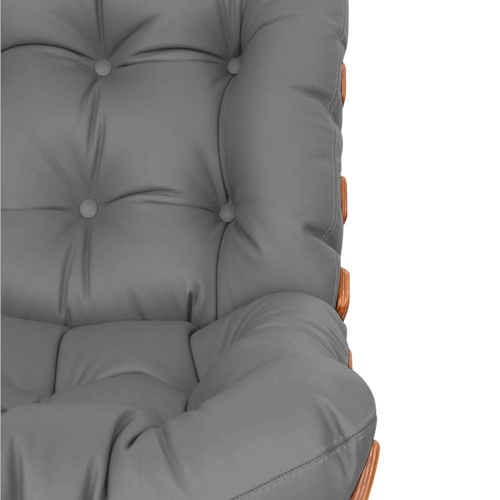 Poltrona Decorativa Costela Base Fixa Corano Cinza - ADJ Decor