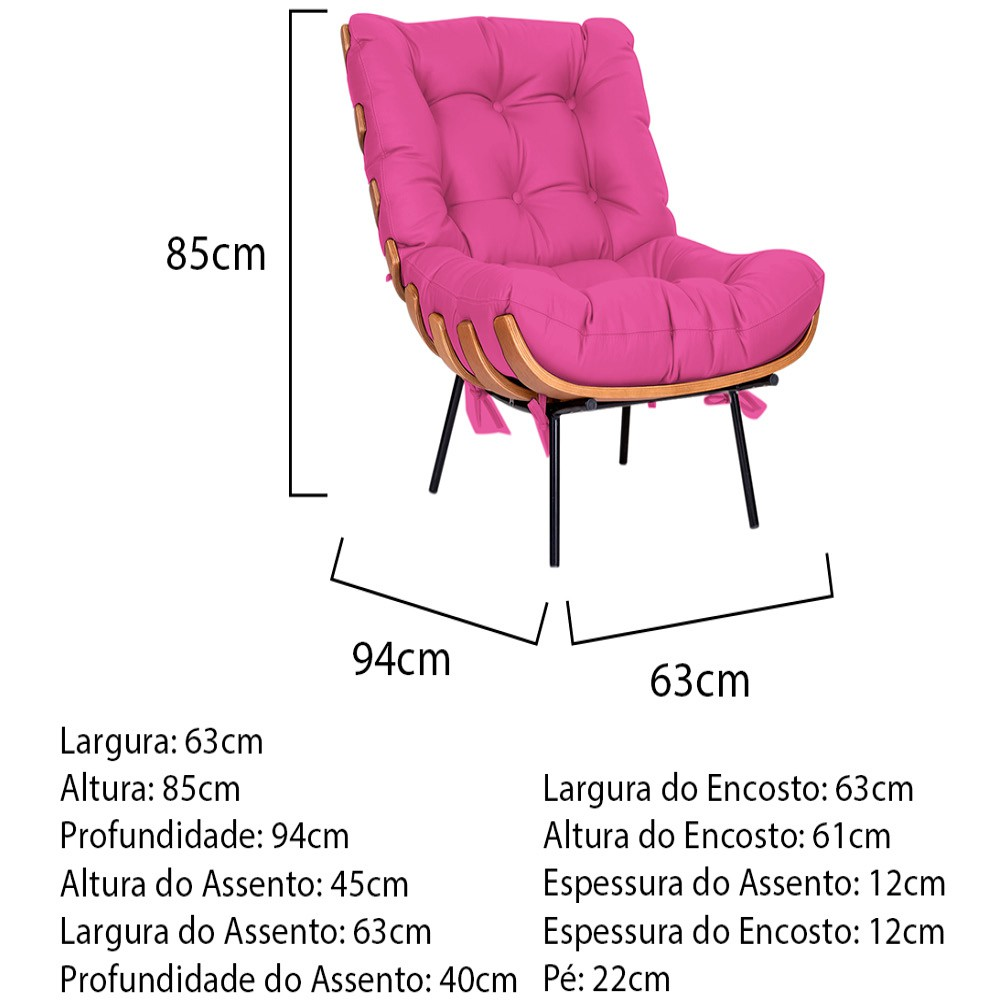 Poltrona Decorativa Costela Base Fixa Corano Pink - ADJ Decor