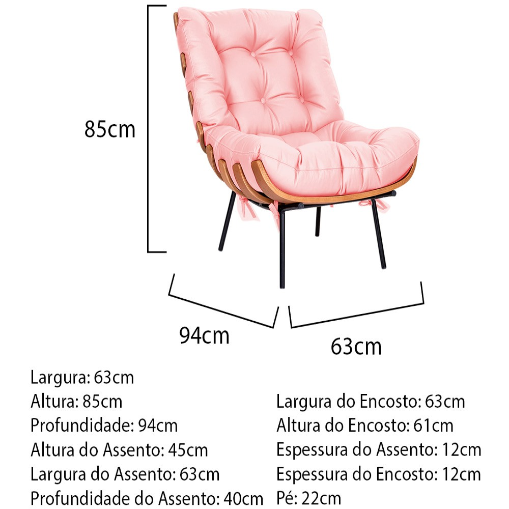 Poltrona Decorativa Costela Base Fixa Corano Rosa Bebê - ADJ Decor