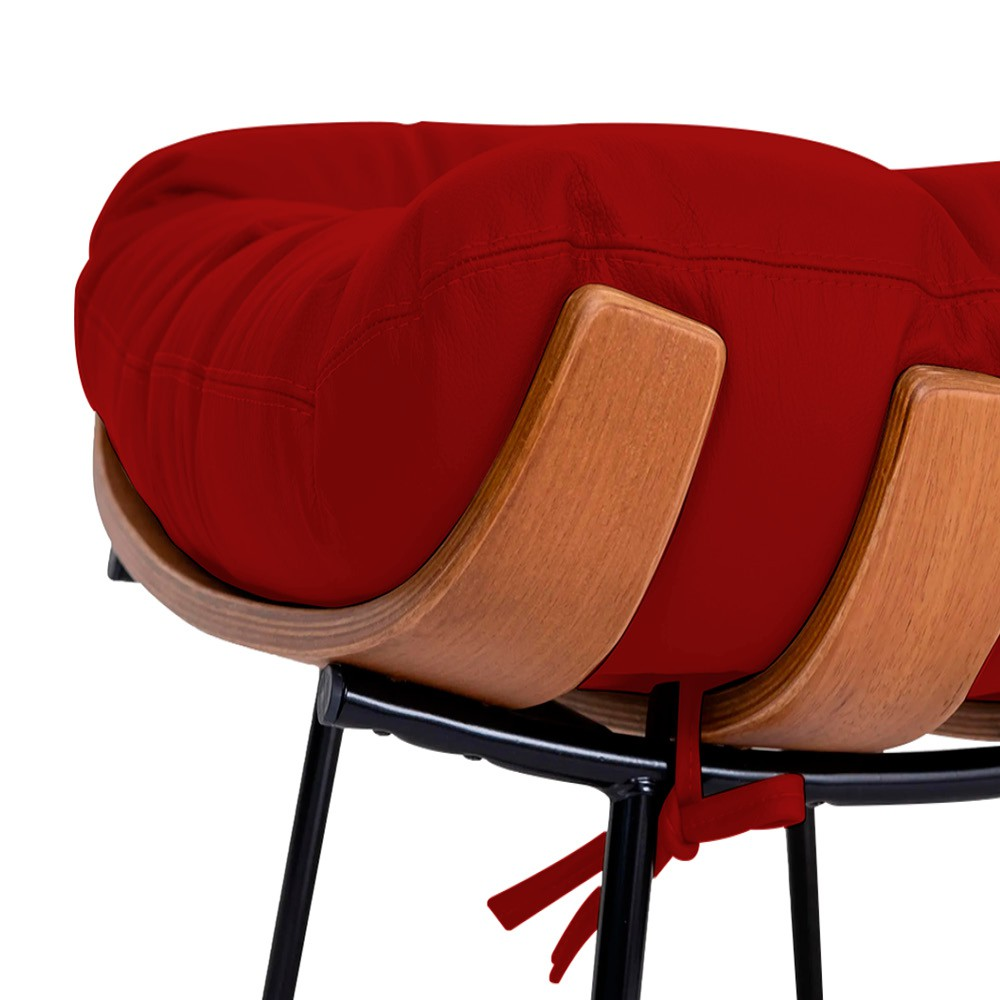 Poltrona Decorativa Costela Base Fixa Corano Vermelho - ADJ Decor