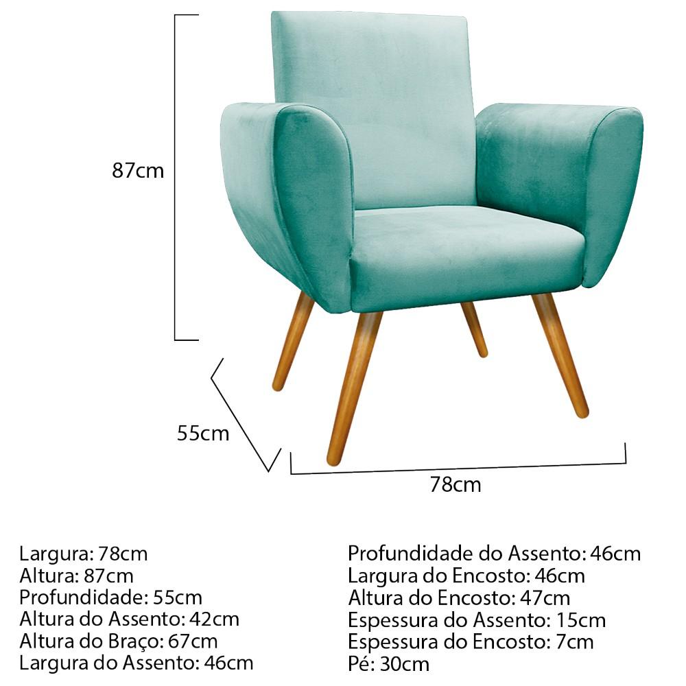 Poltrona Elisa Pés Palito Mel Suede Azul Tiffany - ADJ Decor