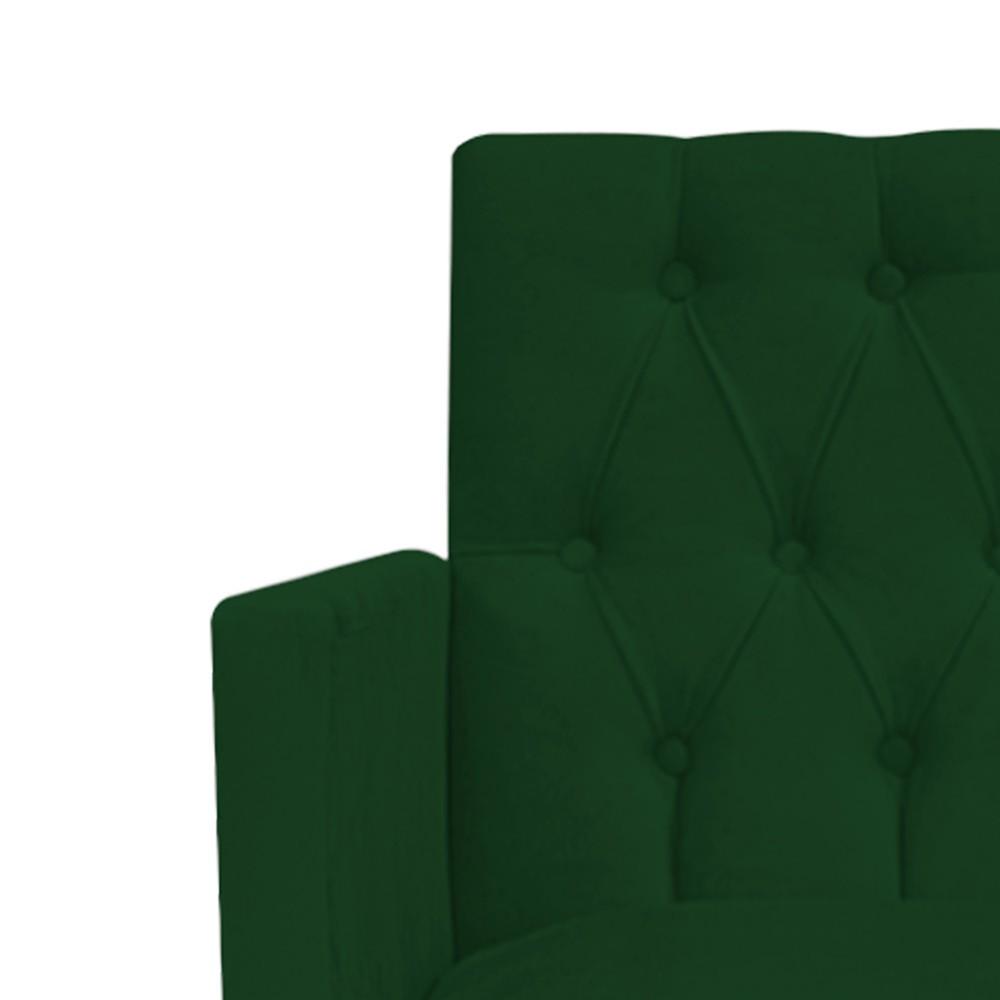 Poltrona Fernanda Pés Palito Tabaco Suede Verde - ADJ Decor