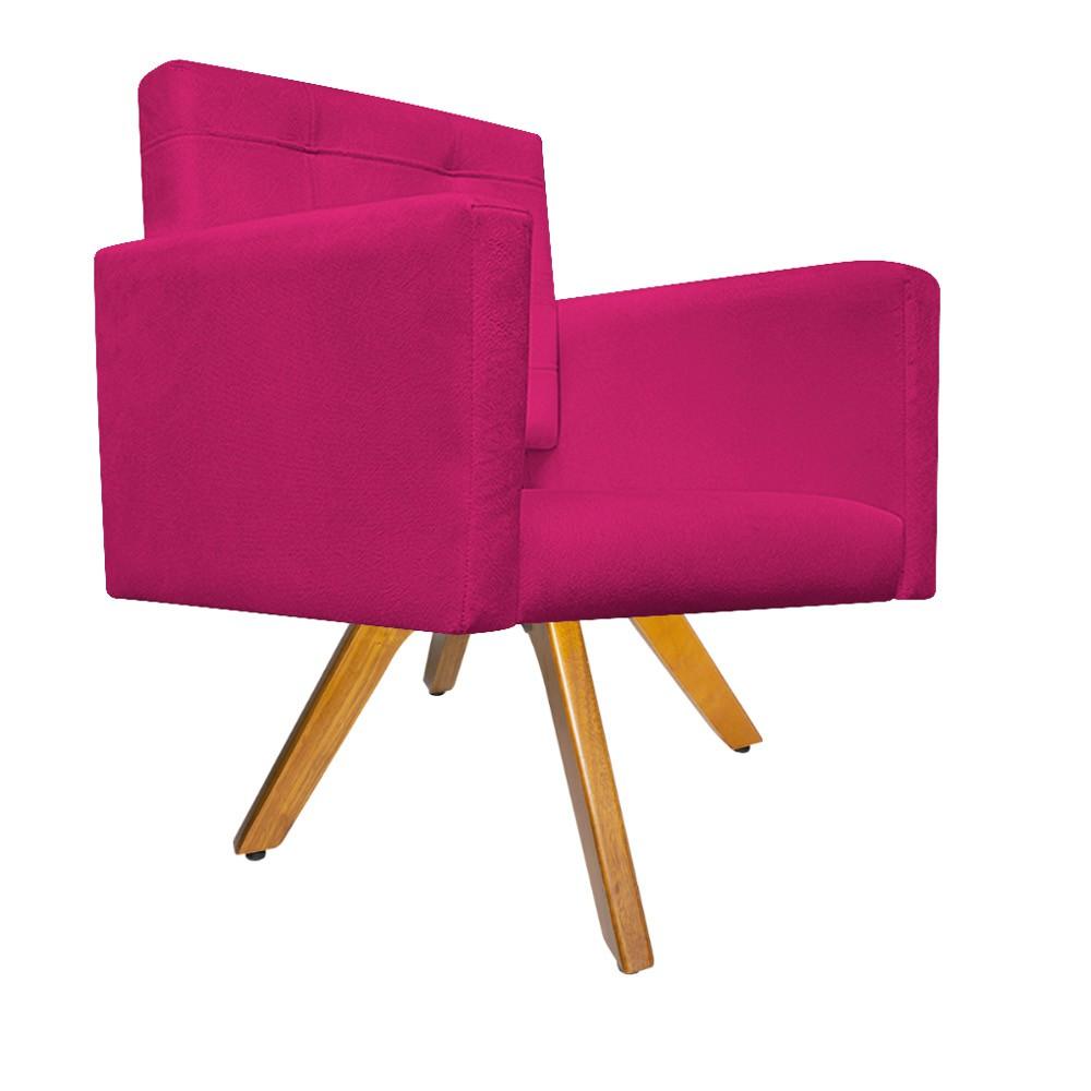 Poltrona Gênesis Base Giratória de Madeira Suede Pink - ADJ Decor