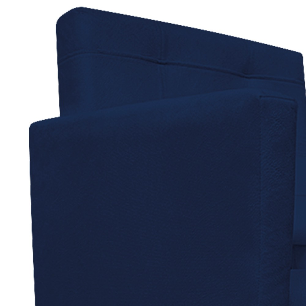 Poltrona Gênesis Pés Palito Mel Suede Azul Marinho - ADJ Decor