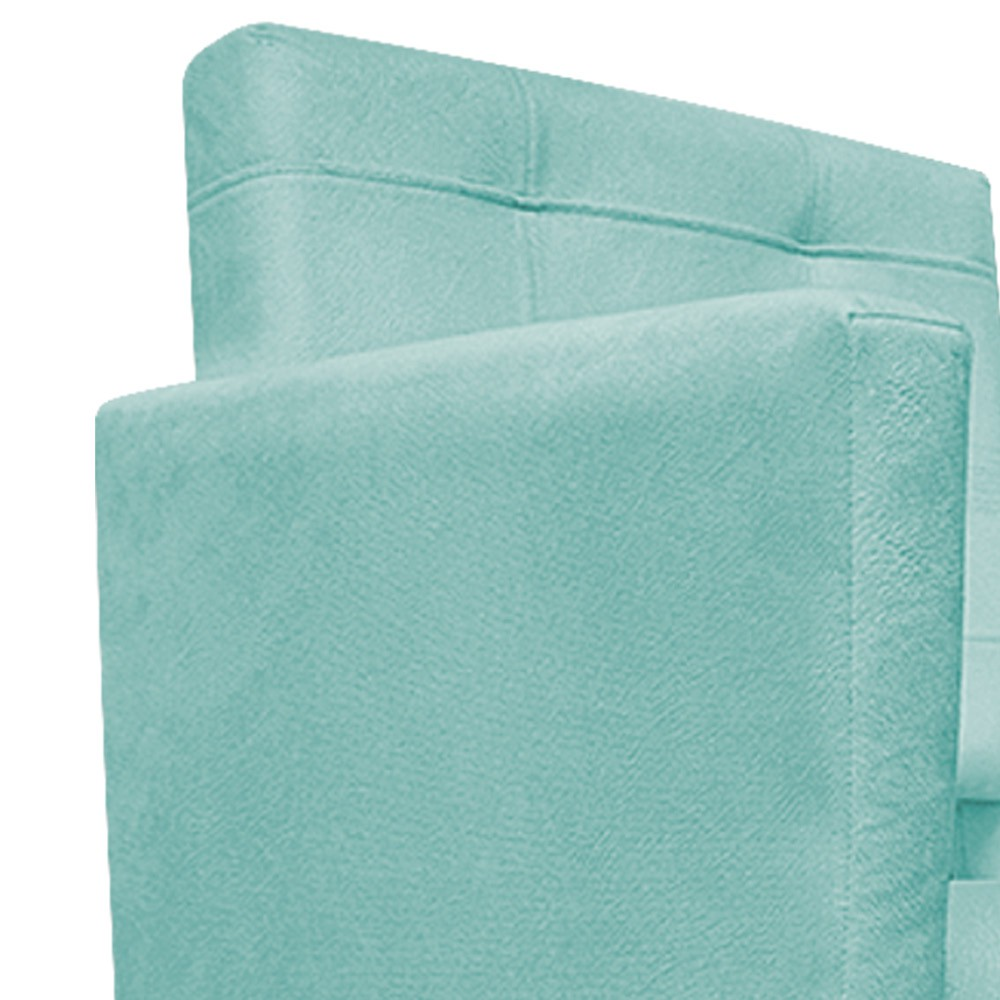 Poltrona Gênesis Pés Palito Mel Suede Azul Tiffany - ADJ Decor