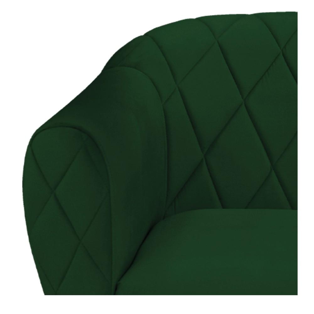 Poltrona Helena Base Giratória de Madeira Suede Verde - ADJ Decor