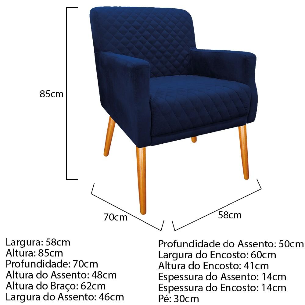 Poltrona Juliana Pés Palito Mel Suede Azul Marinho - ADJ Decor