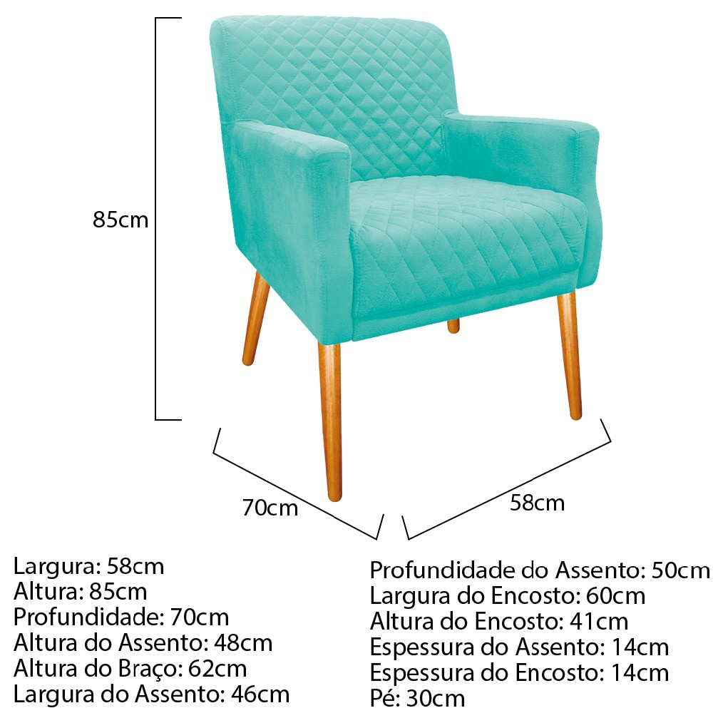 Poltrona Juliana Pés Palito Mel Suede Azul Tiffany - ADJ Decor
