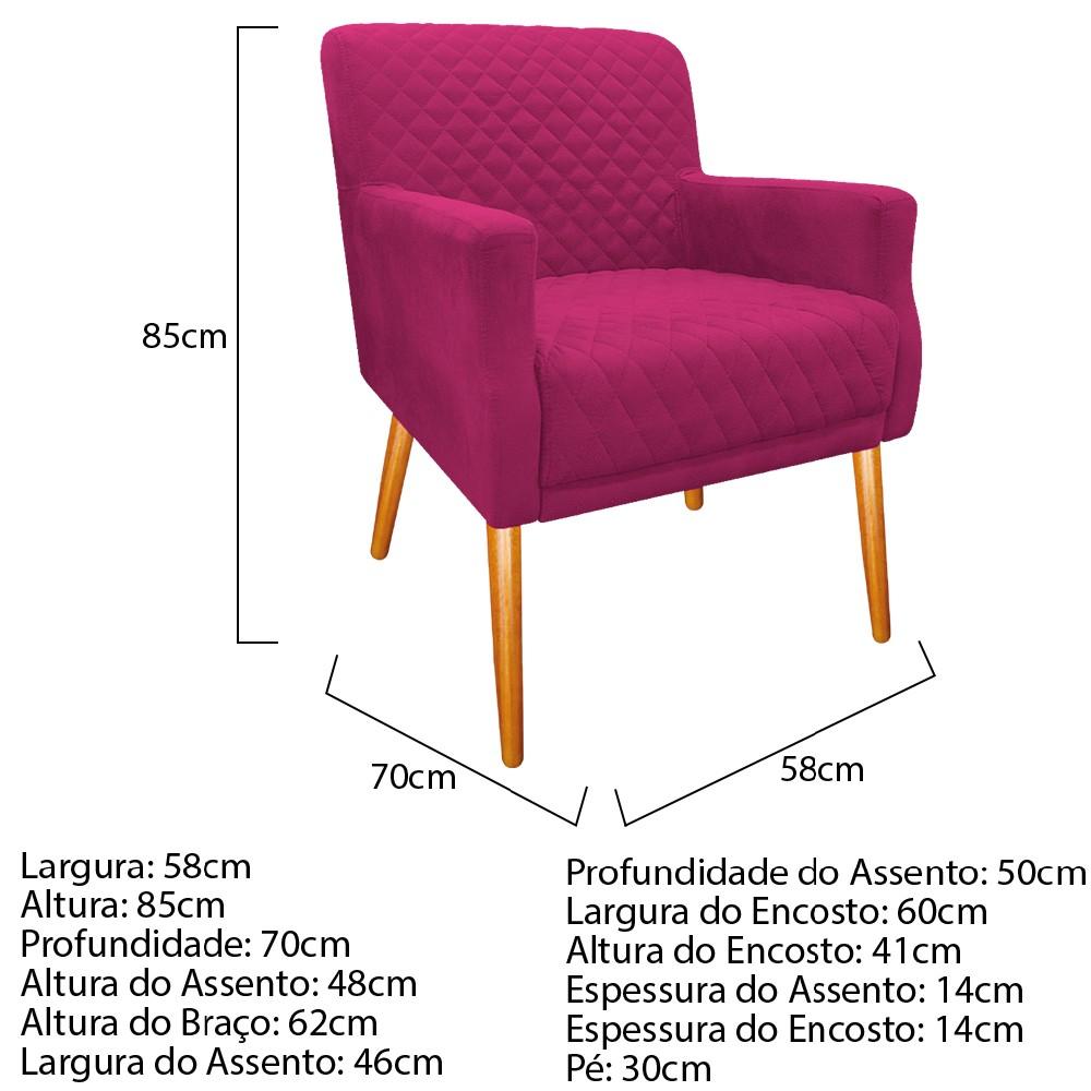 Poltrona Juliana Pés Palito Mel Suede Pink - ADJ Decor