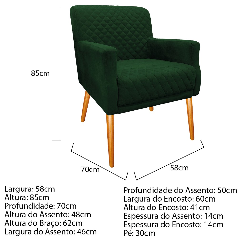 Poltrona Juliana Pés Palito Mel Suede Verde - ADJ Decor