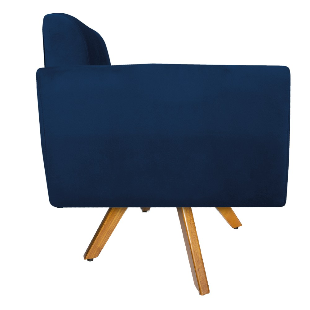 Poltrona Stella Base Giratória de Madeira Suede Azul Marinho - ADJ Decor