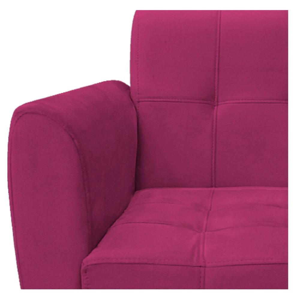 Poltrona Stella Base Giratória de Madeira Suede Pink - ADJ Decor