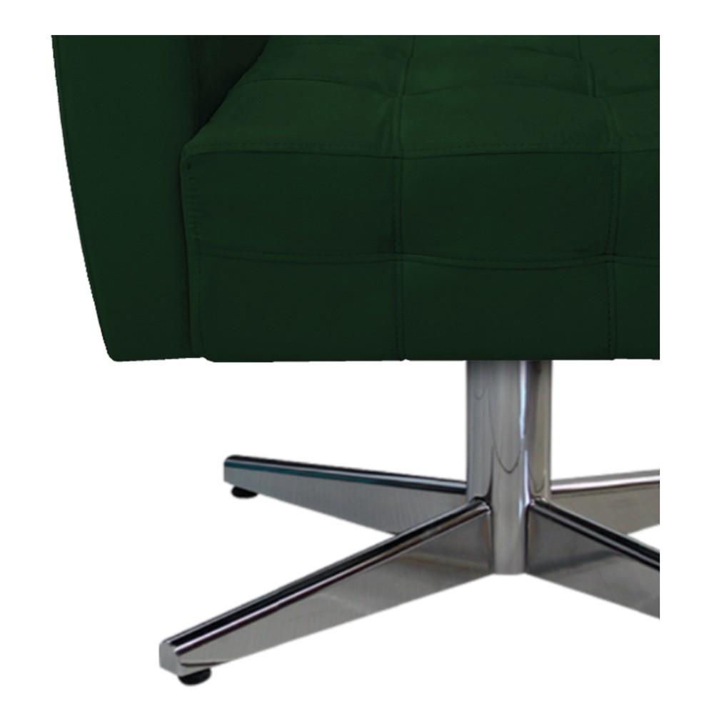 Poltrona Stella Base Giratória de Metal Suede Verde - ADJ Decor