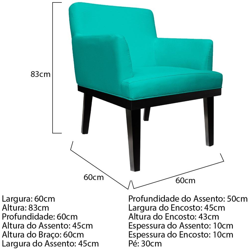 Poltrona Vitória Corano Azul Turquesa - ADJ Decor