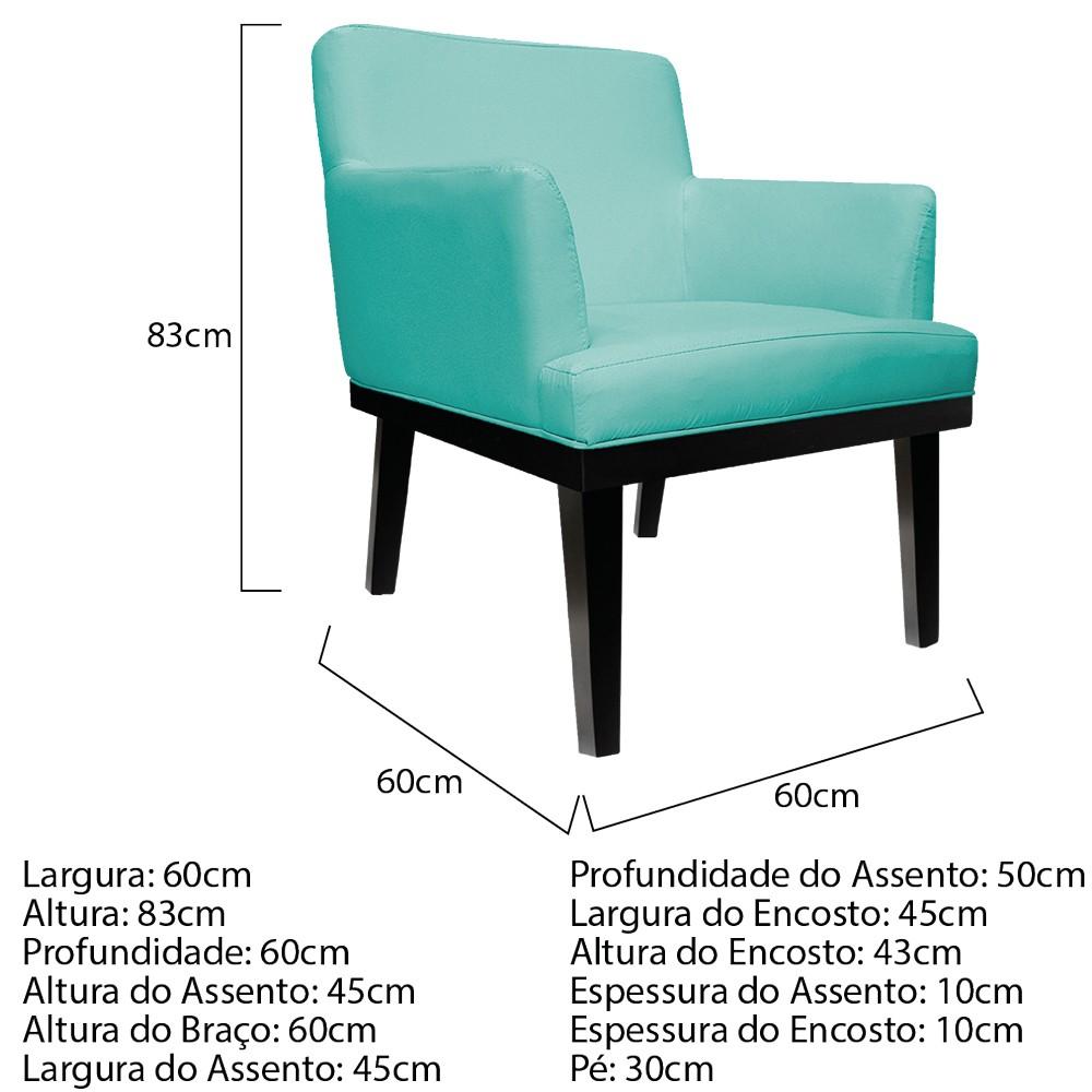 Poltrona Vitória Suede Azul Tiffany - ADJ Decor