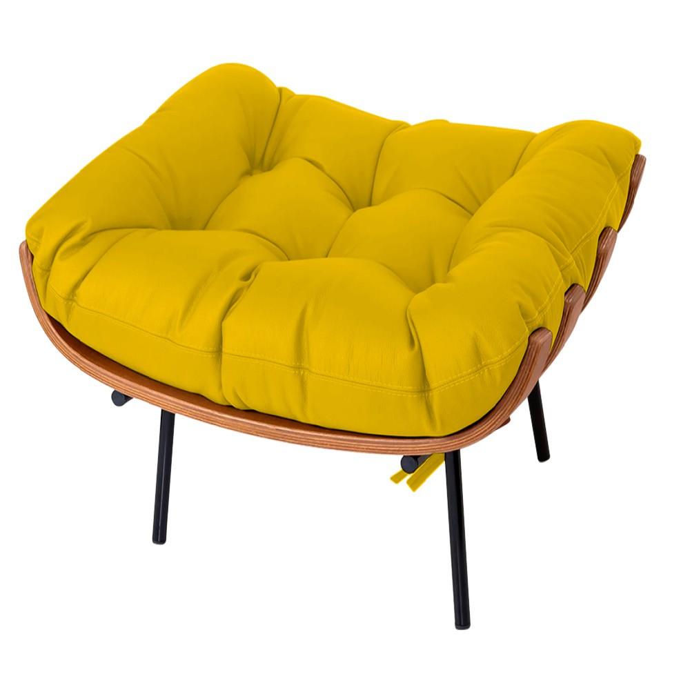 Puff Decorativo Costela Base Fixa Corano Amarelo - ADJ Decor