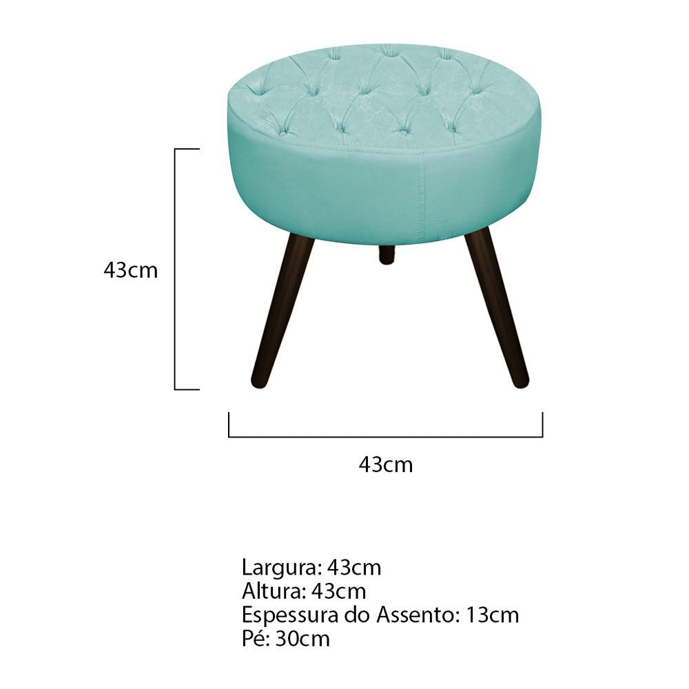 Puff Fernanda Palito Tabaco Suede Azul Tiffany - ADJ Decor