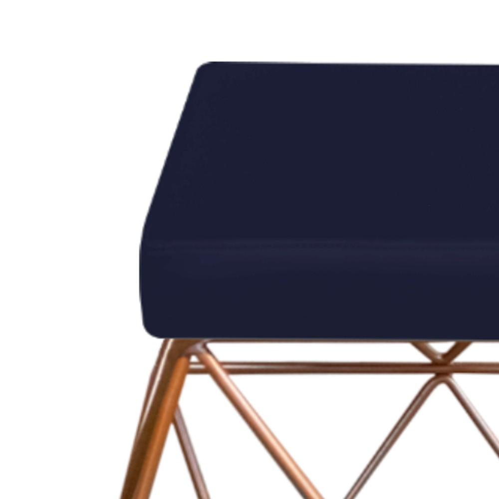 Puff Quadrado Aramado Elsa Corano Azul Marinho - ADJ Decor