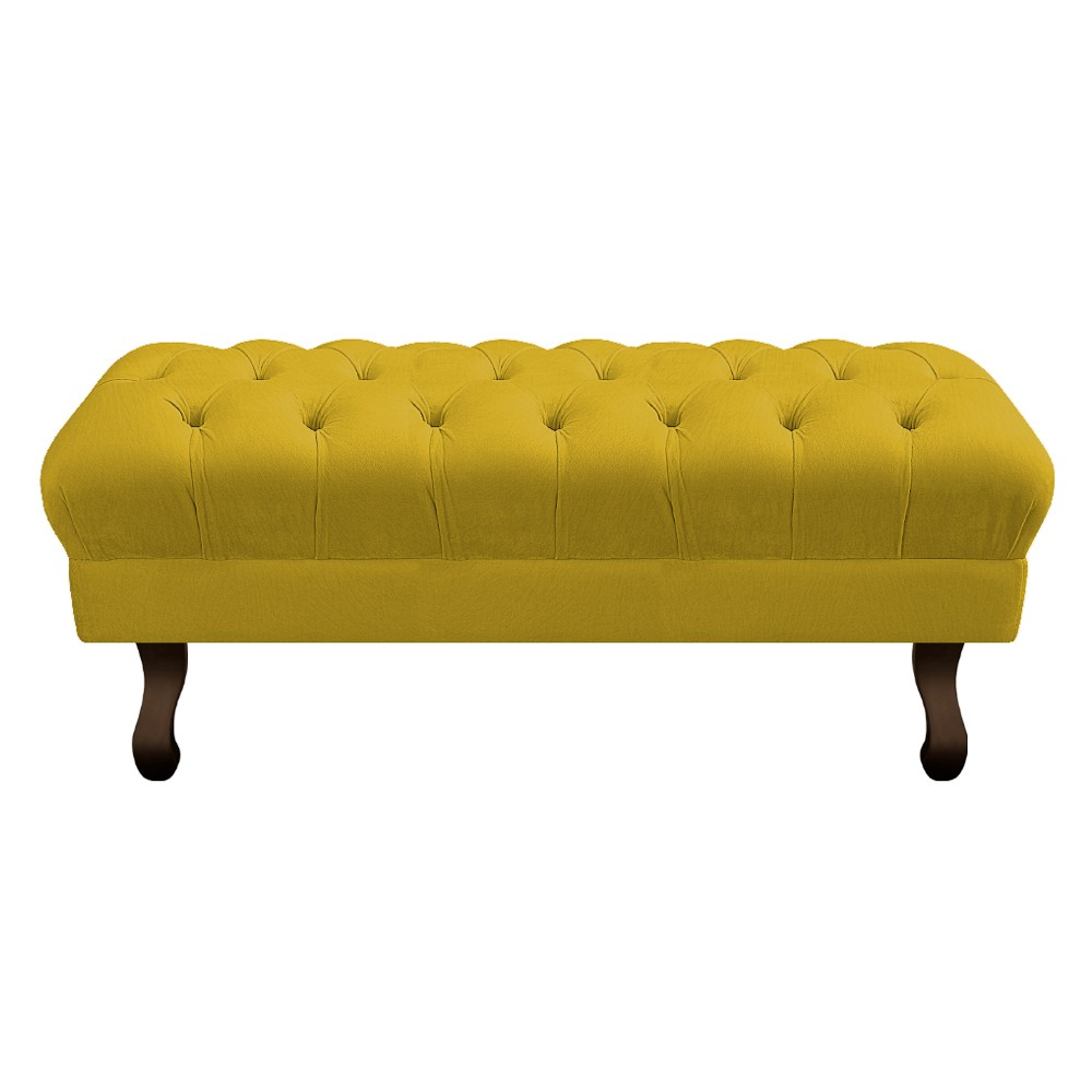 Puff Retrô 140 cm Luis XV Suede Amarelo - ADJ Decor
