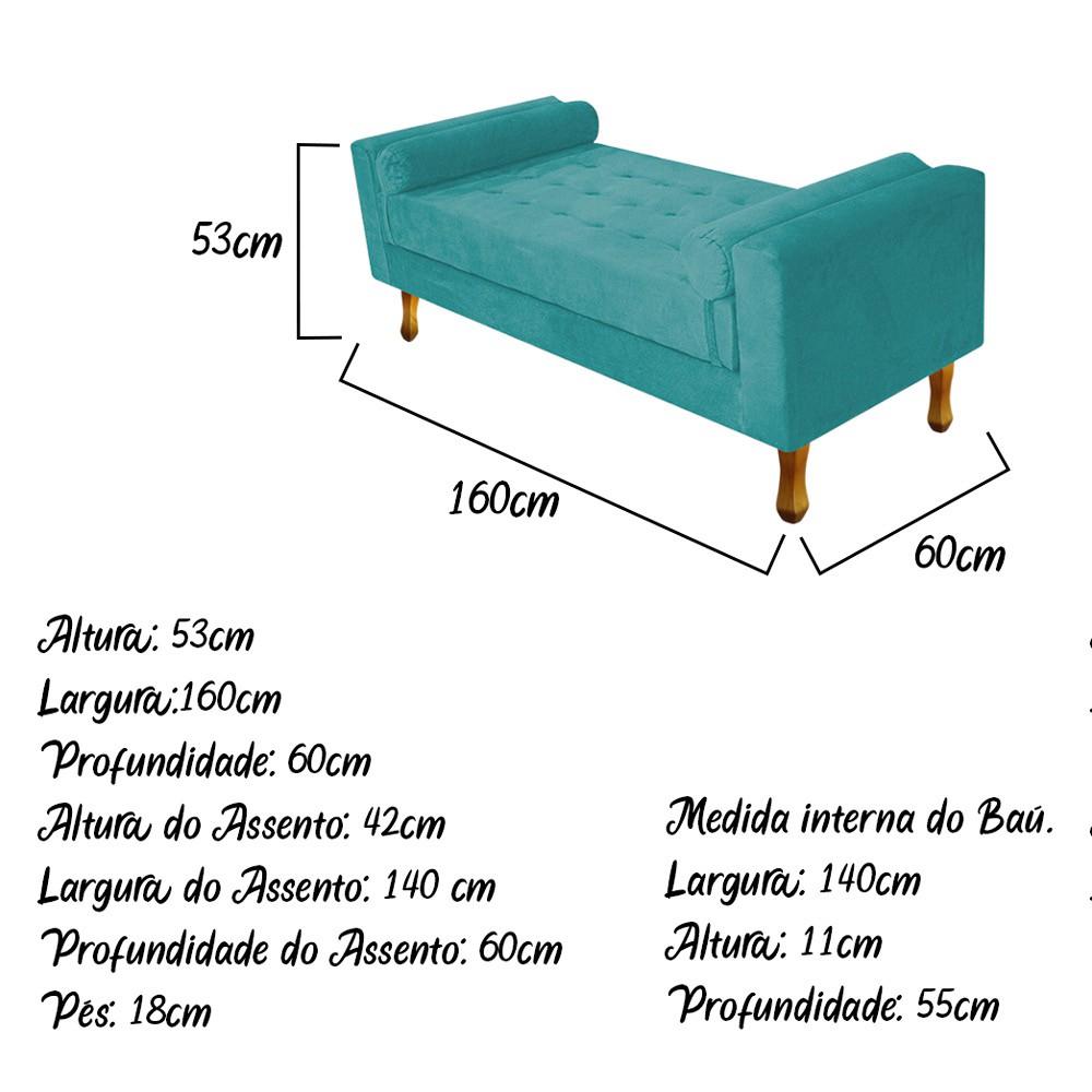 Recamier Baú Félix Queen Size 160cm Suede Azul Turquesa - ADJ Decor