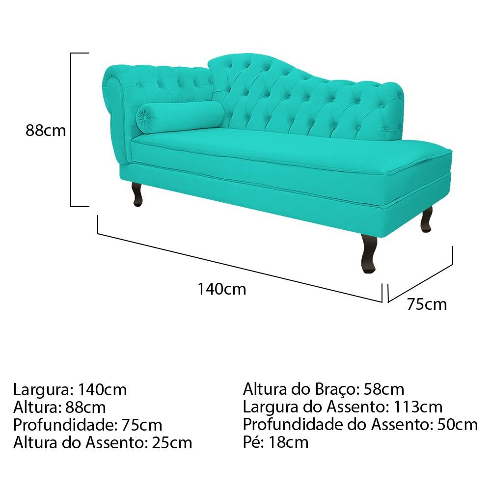 Recamier Diana 140cm Lado Direito Corano Azul Turquesa - ADJ Decor