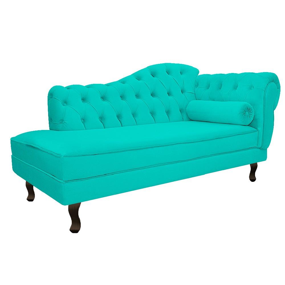 Recamier Diana 140cm Lado Esquerdo Corano Azul Turquesa - ADJ Decor