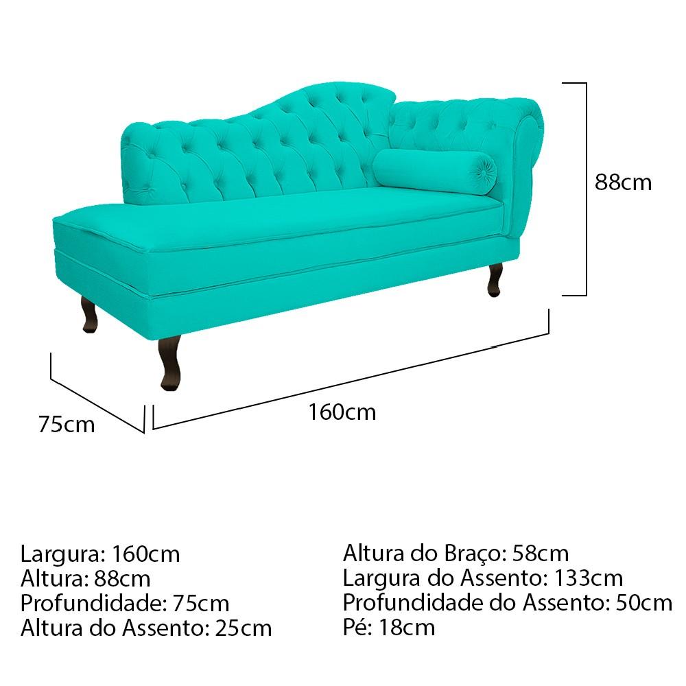 Recamier Diana 160cm Lado Esquerdo Corano Azul Turquesa - ADJ Decor