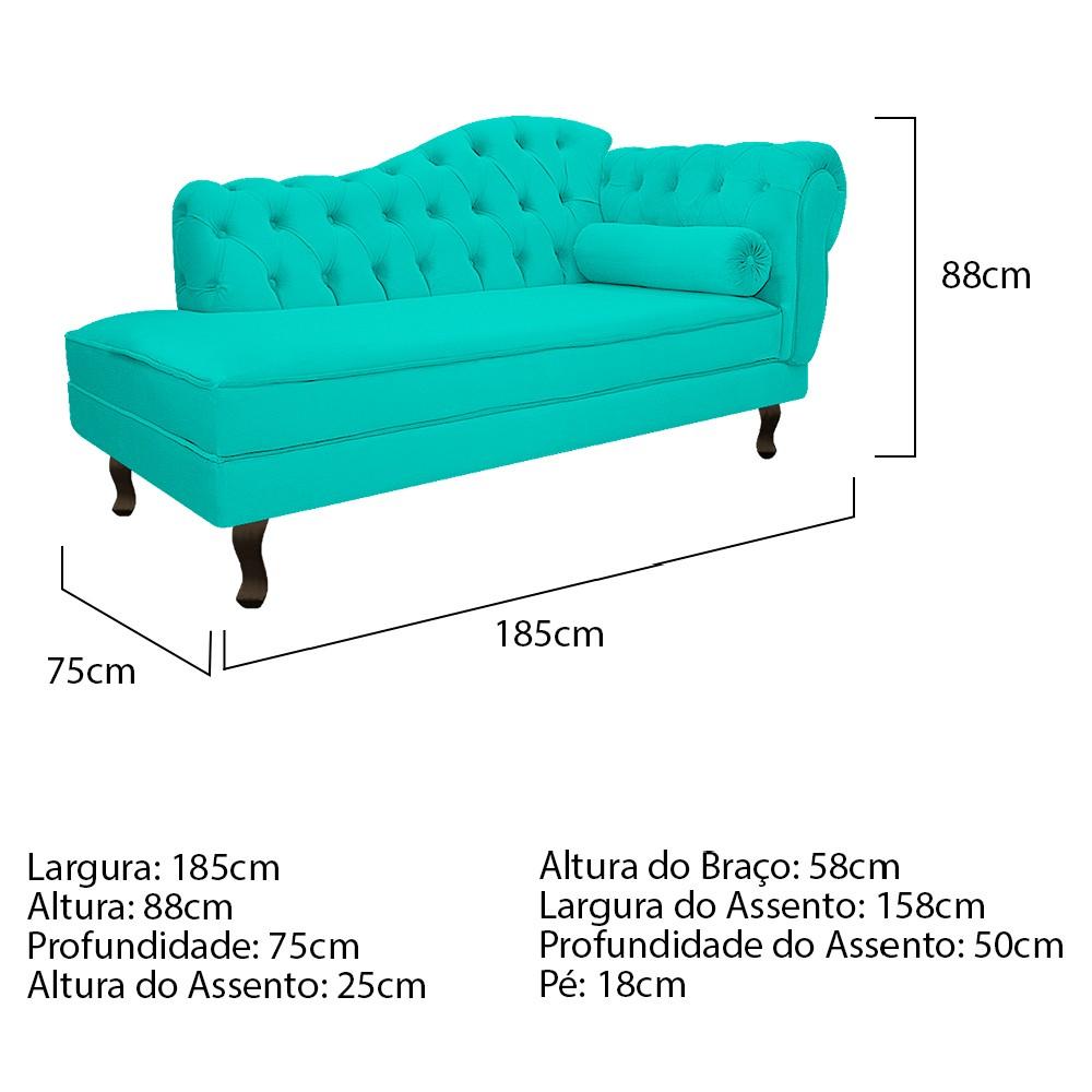 Recamier Diana 185cm Lado Esquerdo Corano Azul Turquesa - ADJ Decor