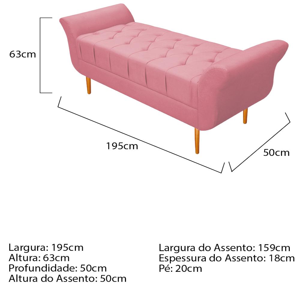 Recamier Estofado Ari 195 cm King Size Suede Rosa Bebê - ADJ Decor