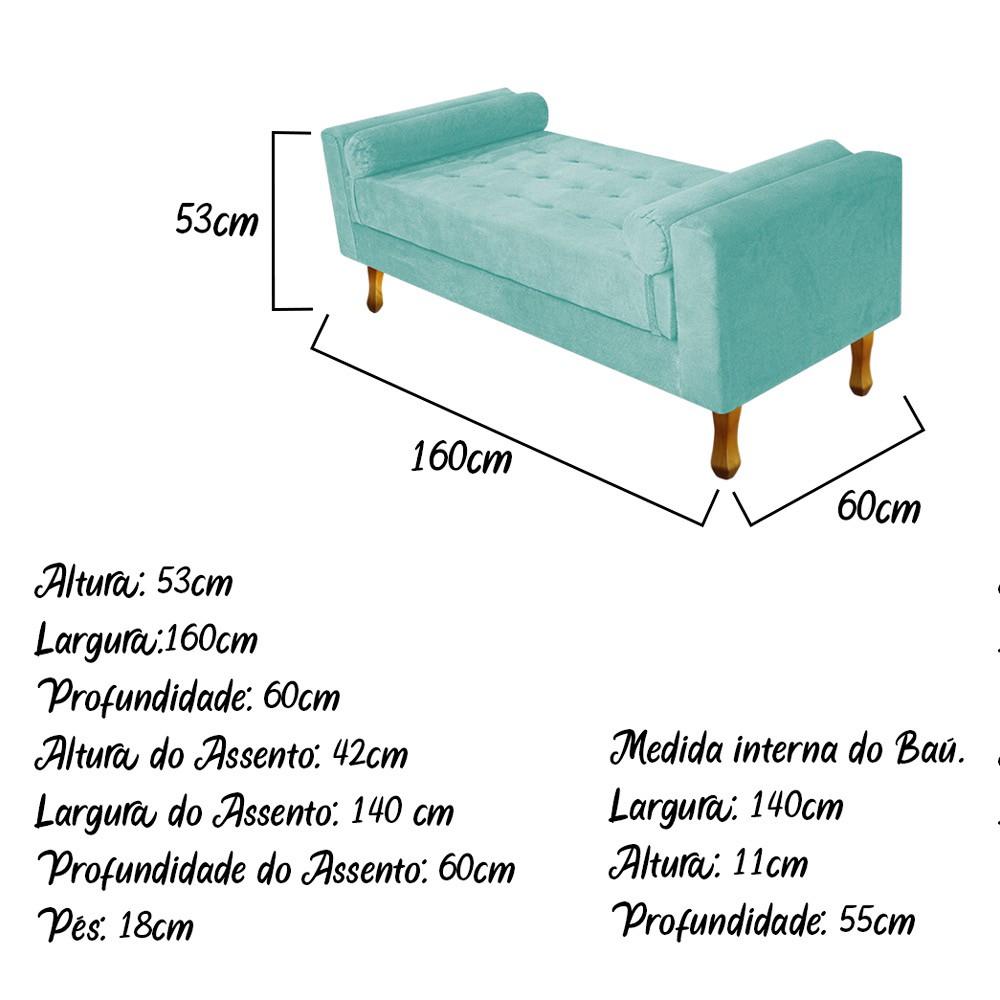 Recamier Félix Queen Size 160cm Suede Azul Tiffany - ADJ Decor