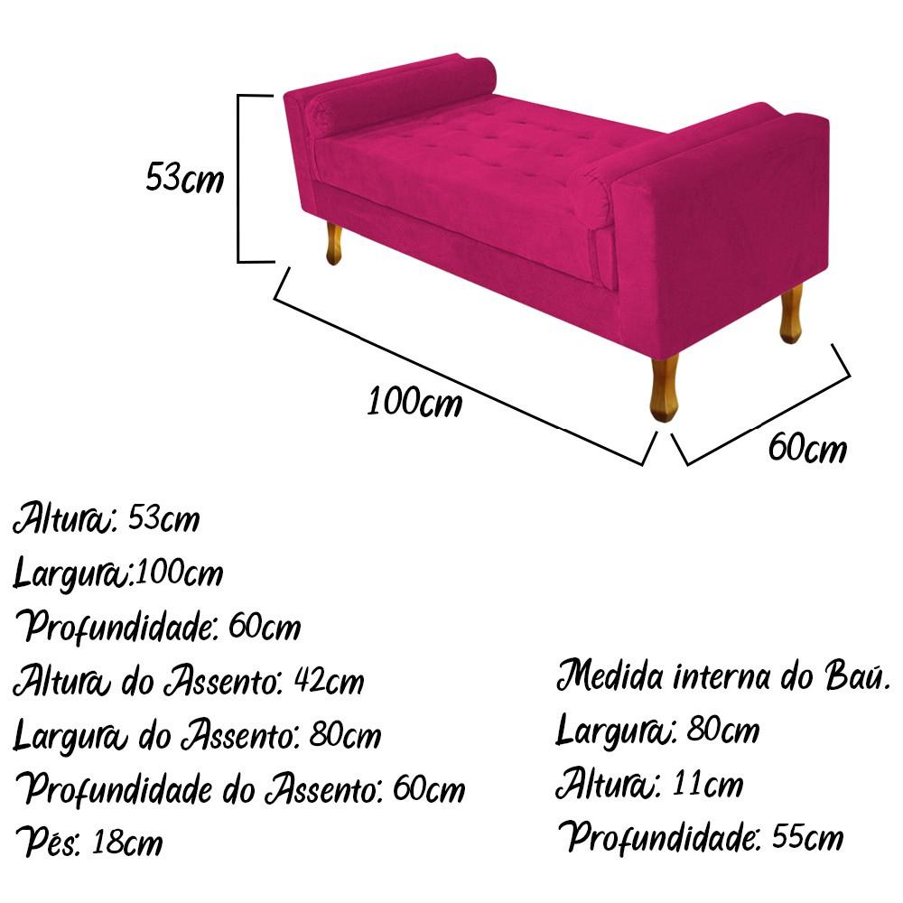 Recamier Félix Solteiro 100cm Suede Pink - ADJ Decor
