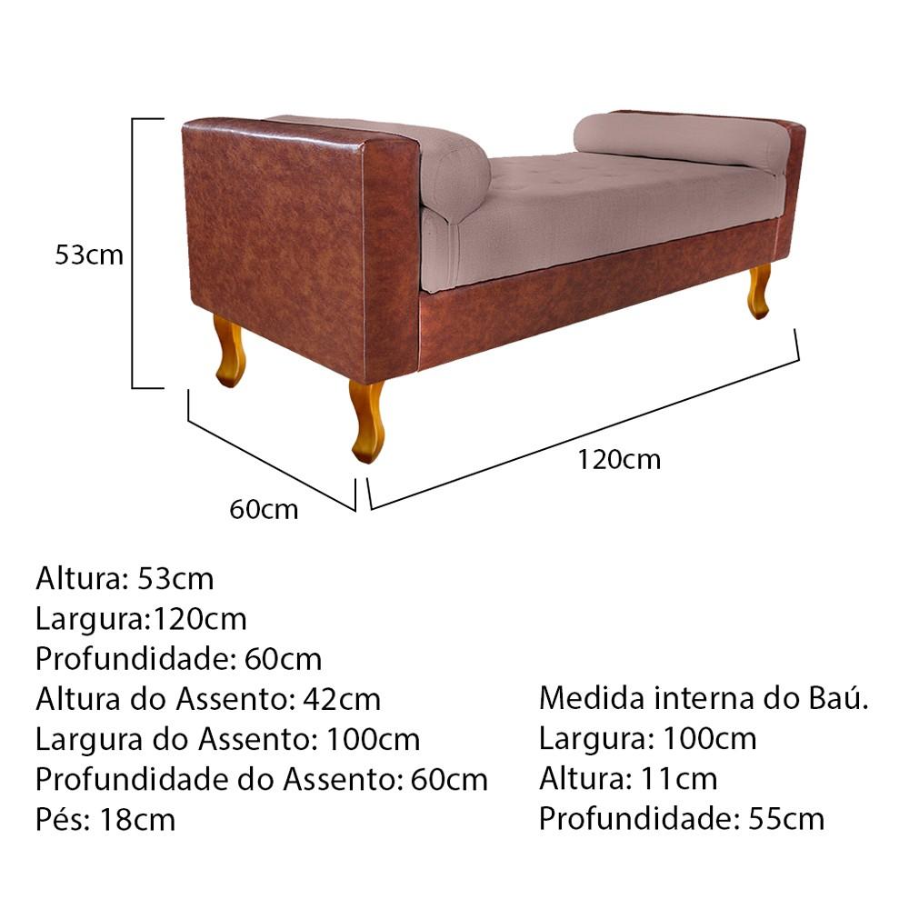 Recamier Félix Solteiro 120cm Corano Nozes e Linho Rosê - ADJ Decor