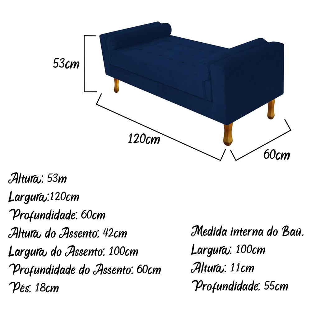 Recamier Félix Solteiro 120cm Suede Azul Marinho - ADJ Decor