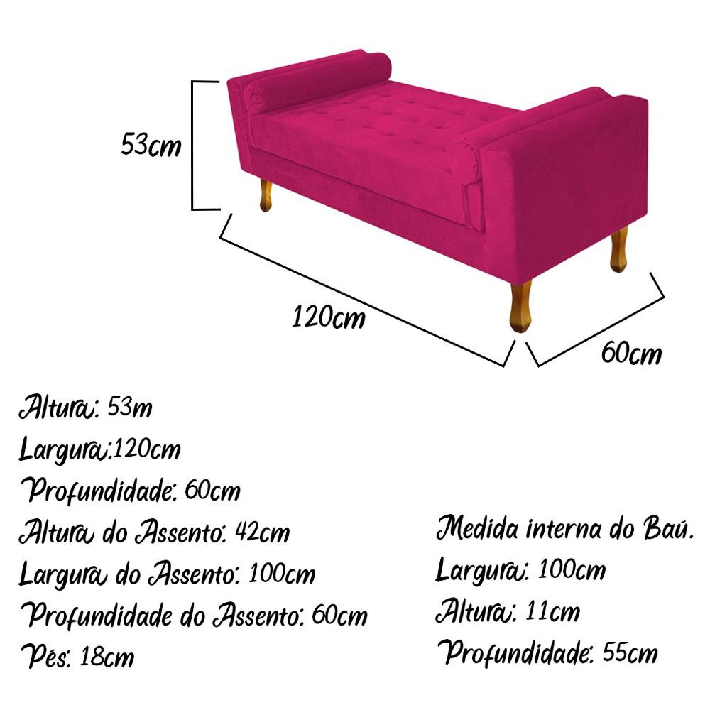Recamier Félix Solteiro 120cm Suede Pink - ADJ Decor