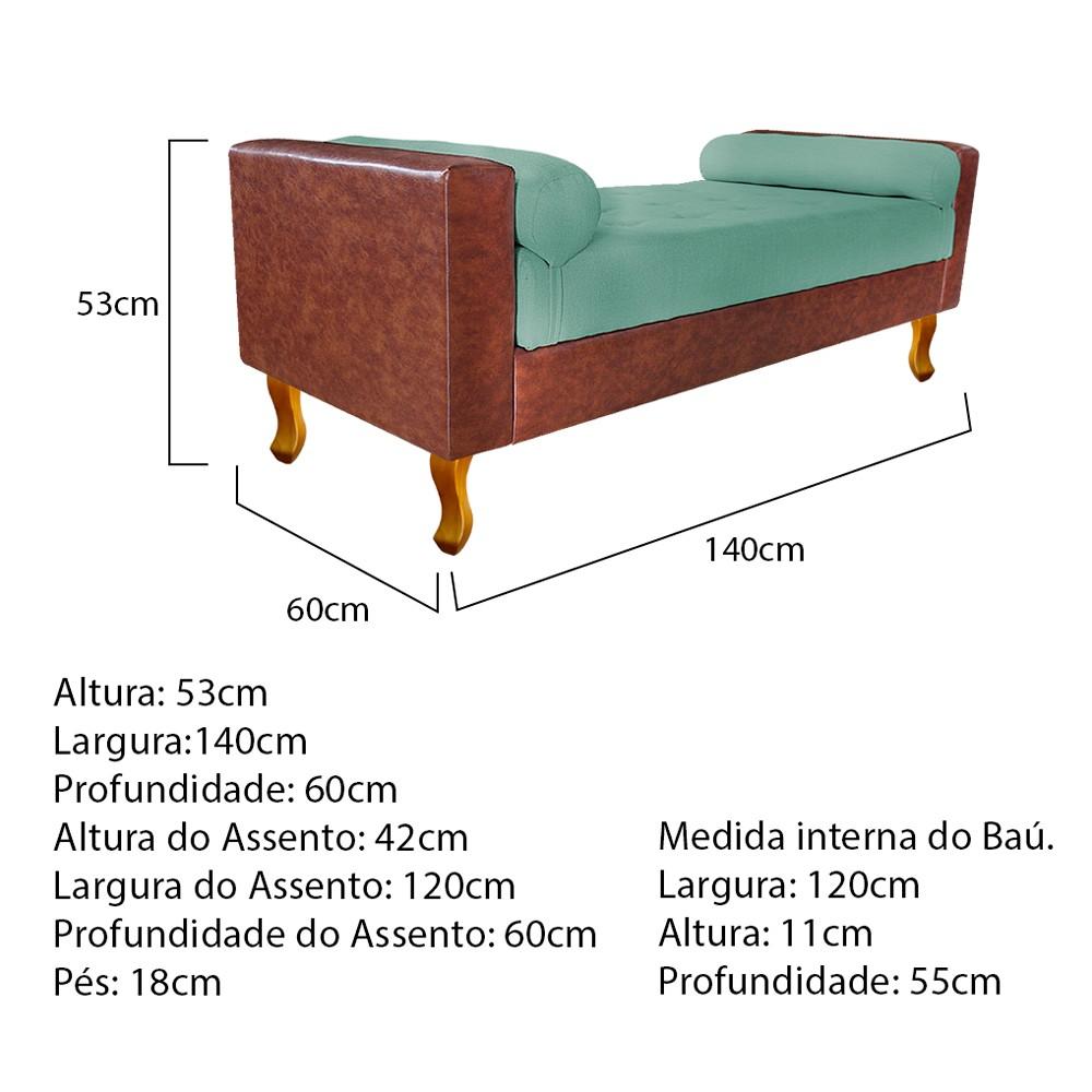 Recamier Félix Casal 140cm Corano Nozes e Linho Azul Turquesa - ADJ Decor