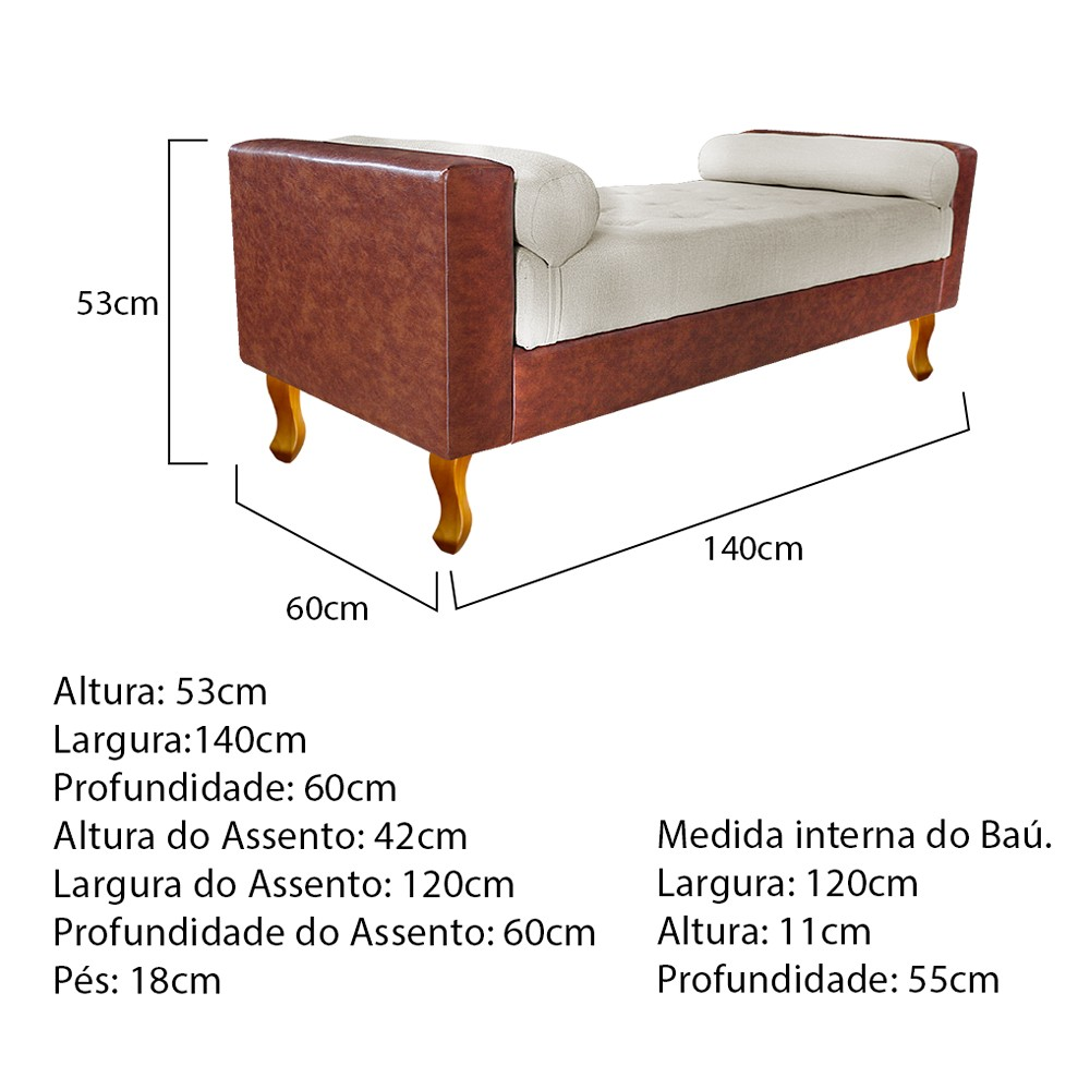 Recamier Félix Casal 140cm Corano Nozes e Linho Bege - ADJ Decor