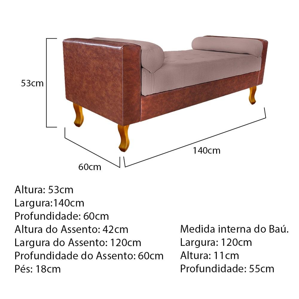Recamier Félix Casal 140cm Corano Nozes e Linho Rosê - ADJ Decor
