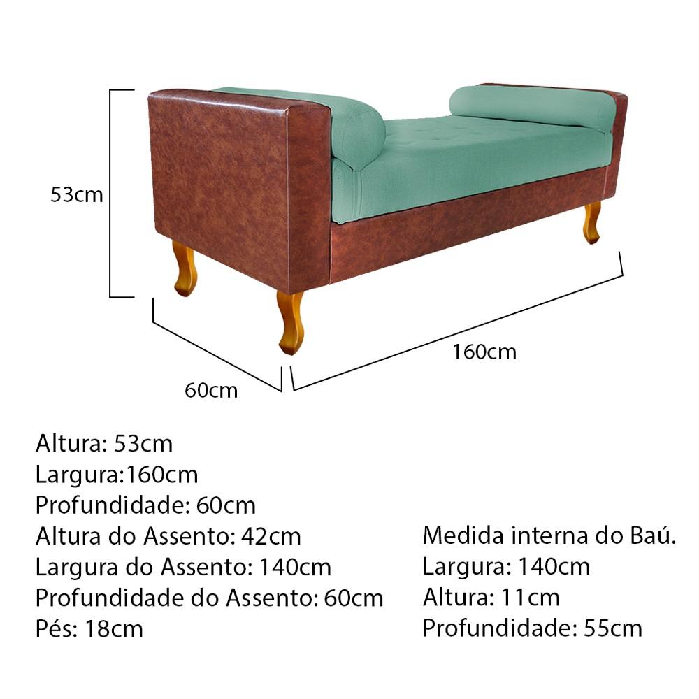 Recamier Félix Queen Size 160cm Corano Nozes e Linho Azul Turquesa - ADJ Decor