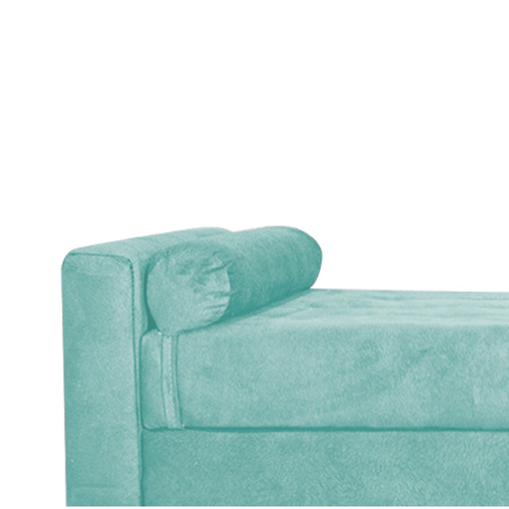 Recamier Félix Solteiro 90cm Suede Azul Tiffany - ADJ Decor