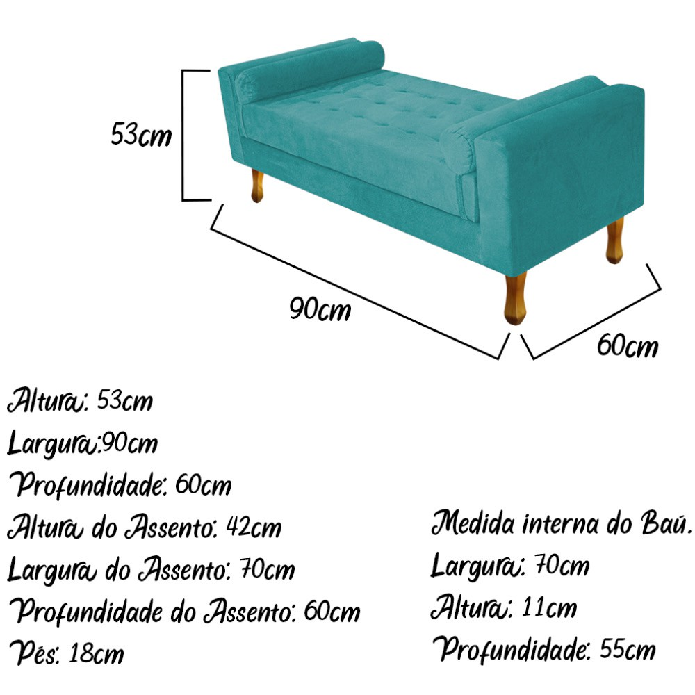 Recamier Félix Solteiro 90cm Suede Azul Turquesa - ADJ Decor